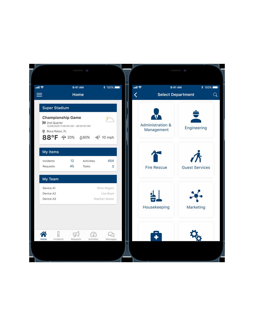 Communicator App Dashboard & Departments Screen
