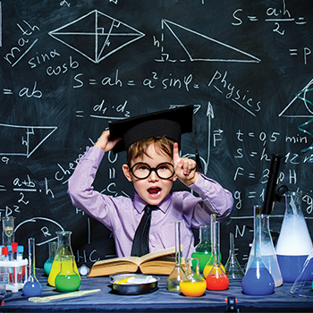 Little boy scientist in the laboratory