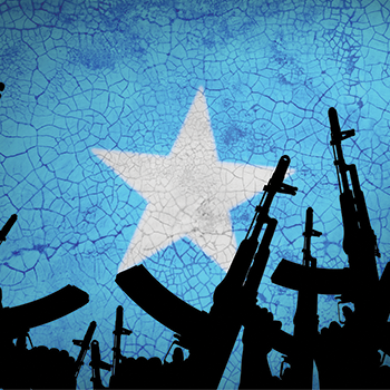 Several automatic rifles raised up on the background of the Somali flag