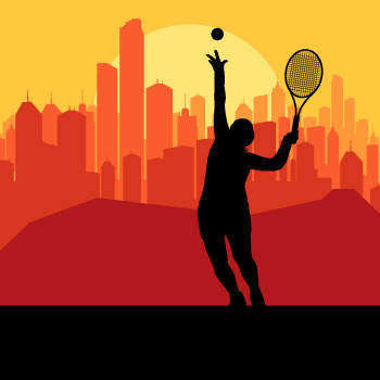 Tennis-player-silhouette-and-city-in-sunset-vector-background