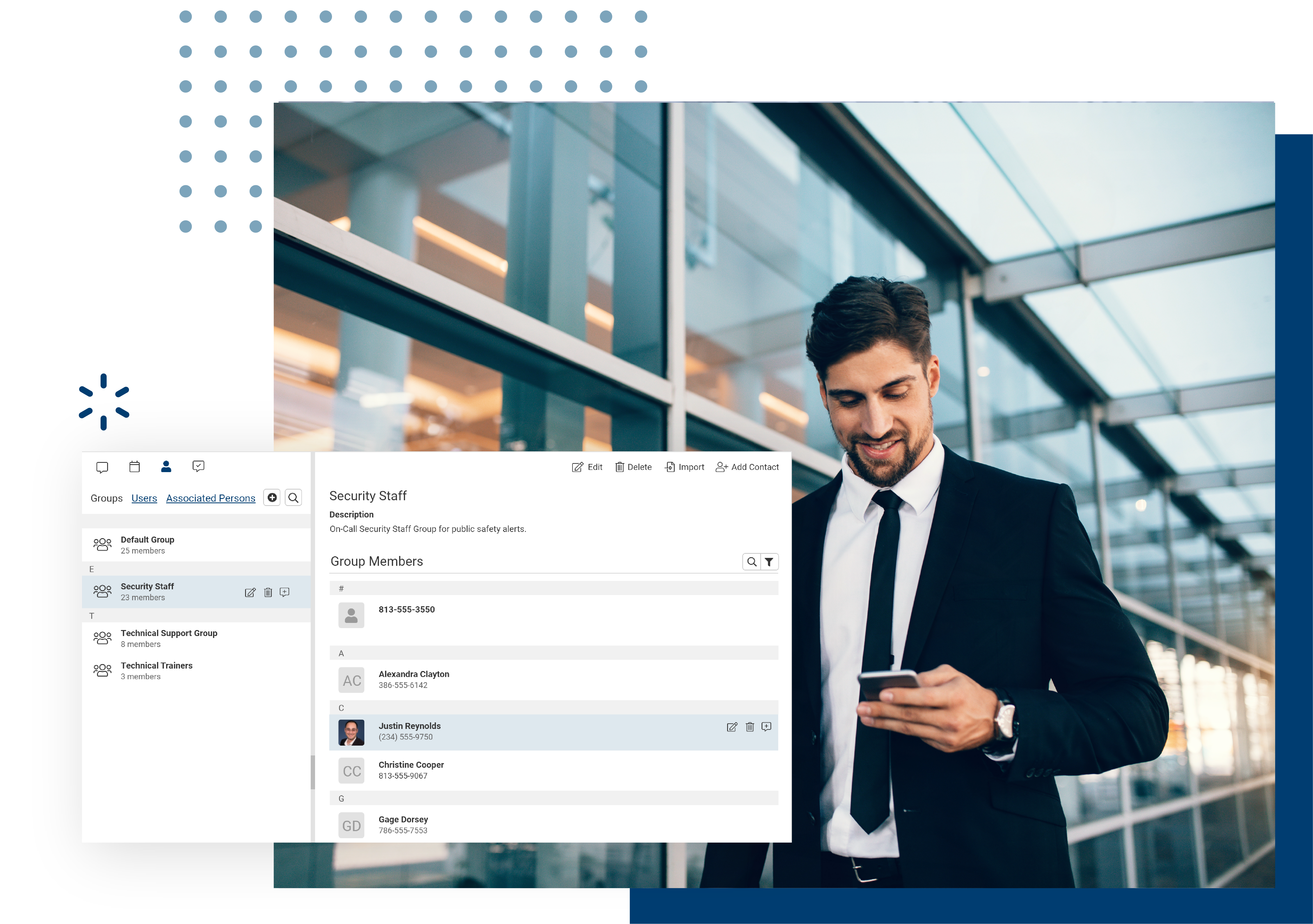 Create unlimited user groups and text important alerts or messages to a group of contacts.