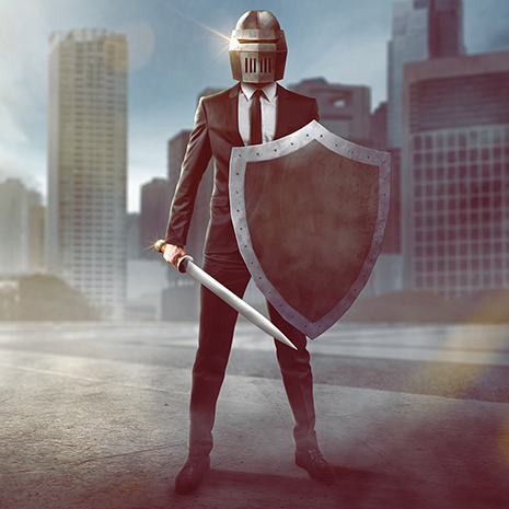 Business Warrior standing in front of buildings with armor on