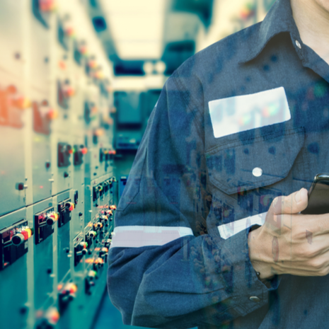 Double exposure of Engineer or Technician using smart phone