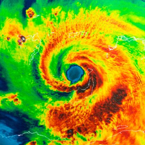 Geocolor Image in the eye of Hurricane