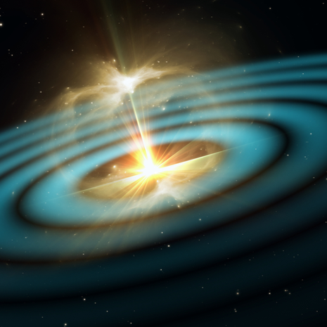 Gravitational waves, vibrations in spacetime, 3D illustration