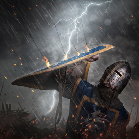 Lightning strikes a knight on battlefield