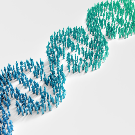 Tiny people forming a DNA helix symbol