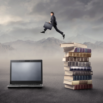 businessman jumping from legacy books to modern cmms