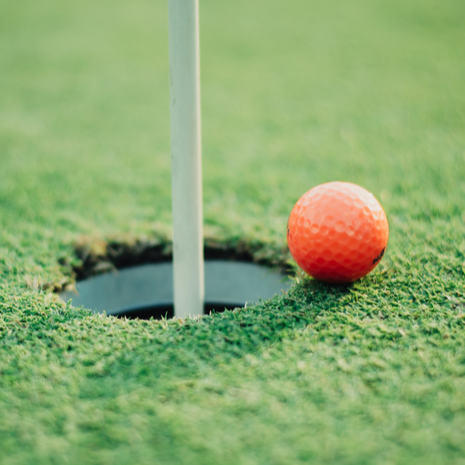 golf ball of the hole hole green putting.
