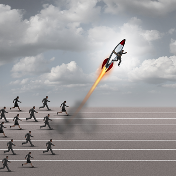 businesspeople-running-on-track-and-one-businessman-attached-to-flying-rocket