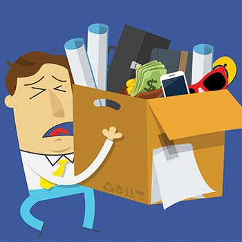 illustration of businessman holding lost and found items box