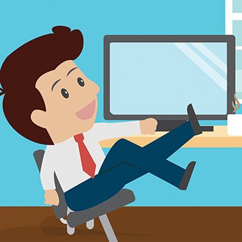 illustration of businessman reclined in chair with feet on desk