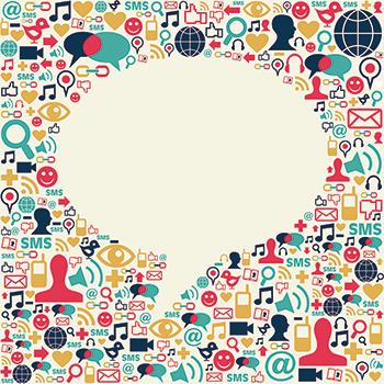 illustration of social media icons surrounding a speech bubble