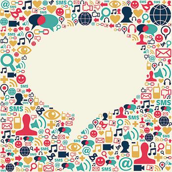 illustration of social media icons surrounding a speech bubble