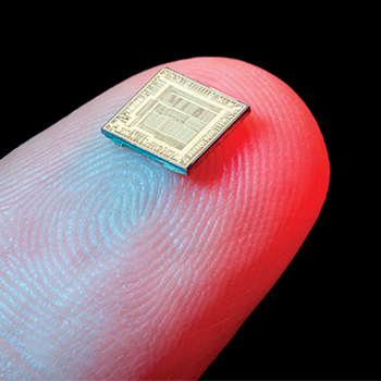 microchip sitting on human finger