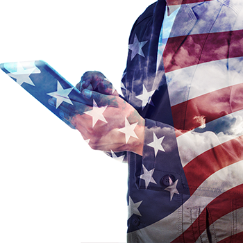 person using tablet device covered with transparent american flag